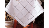 Hemstitched Squares Topper -White