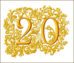 20th Anniversary Embroidery Design