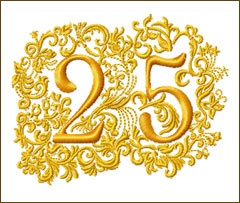 25th Anniversary Embroidery Design