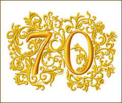 70th Anniversary Embroidery Design
