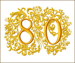 80th Anniversary Embroidery Design