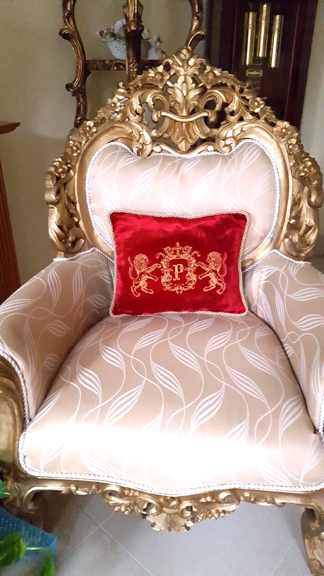 Family Crest Pillow with Family Crest Lion and Medieval Frames