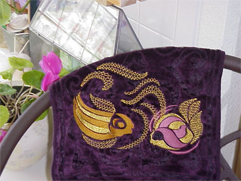 Beach Towel with Gold Fish Embroidery Designs