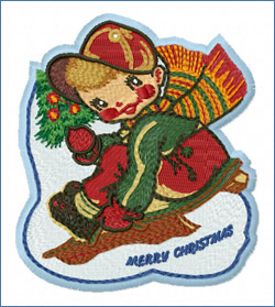 Boy on the Sledge_embroidery design