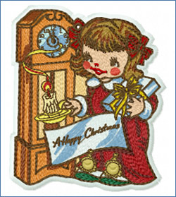 Girl with Grandfather's Clock_embroidery design