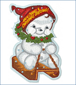 Snowman on the Sledge_embroidery design