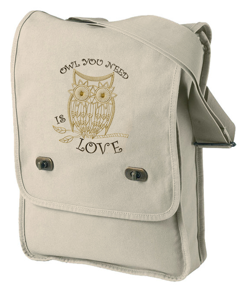Pigment-Dyed Canvas Field Bag embroidered Owl You Need is Love