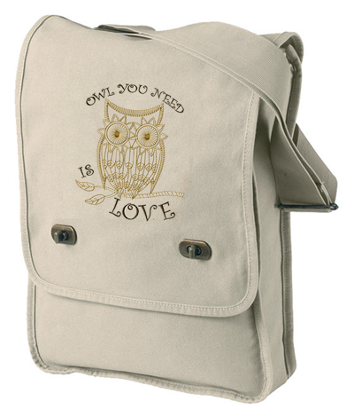 """Owl You Need is Love"" Pigment-Dyed Canvas Field Bag"