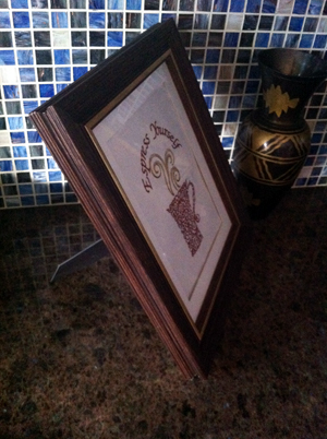 Embroidered Espress Yourself Coffee Cup Framed