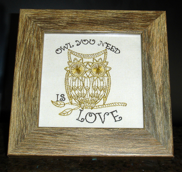 Embroidered Owl You Need is Love Framed