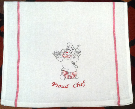 Proud Chef Embroidered Herringbone Cotton Towel