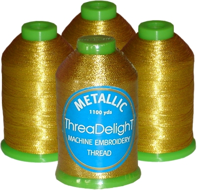 Metallic Embroidery 4-Cone Thread Kit - Antique Gold