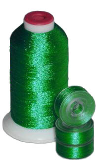 Matching 72 L Bobbins & 10 Thread - Christmas Green