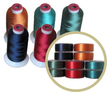 140 bobbins & 20 Thread Cones in 5 Dark Matching Colors