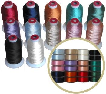 144 bobbins & 24 Thread Cones in 12 Matching Colors
