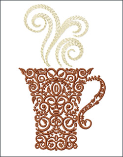 kitchen embroidery designs. Coffee Cup  by ABC Embroidery Designs Kitchen
