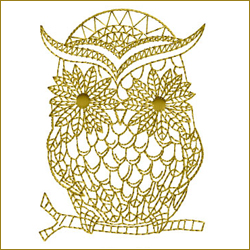 Golden Owl 2 embroidery design