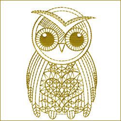 Golden Owl 5 embroidery design