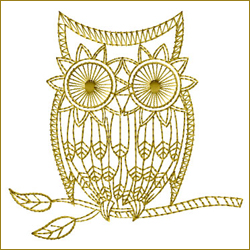 Golden Owl 6 embroidery design