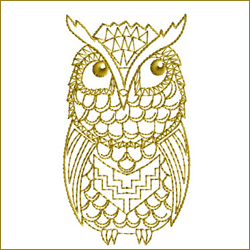 Golden Owl 7 embroidery design