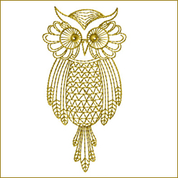 Golden Owl 8 embroidery design