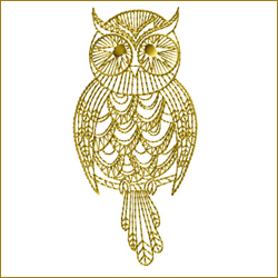 Golden Owl 9 embroidery design