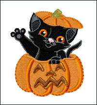 Cat in Pumpkin embroidery design
