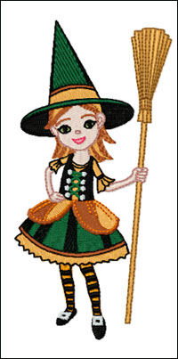 Girl with Broom embroidery design