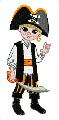 Pirate Boy embroidery design