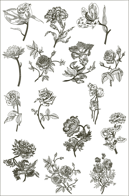 Nocturnal Flowers Machine Embroidery Designs