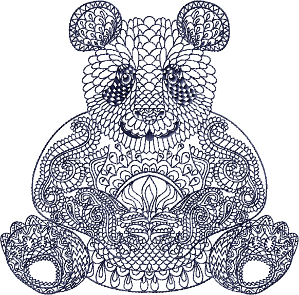 Panda Face Embroidery Designs