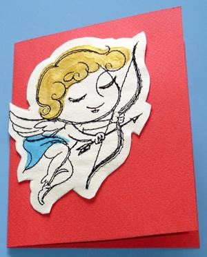 Colored Embroidered Valentine Postcard with Mirrored Design
