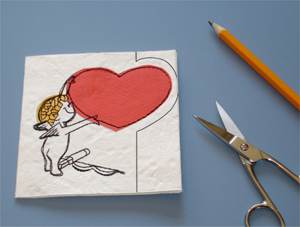 Valentine Card, Embroidered and Appliquéd Directly On Mulberry Paper