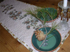 Holiday Quilted Table Runner with Pine Cones Embroidery Designs