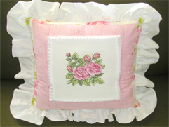 Cottage Rose Quilt-Pillow with Roses Embroidery Designs