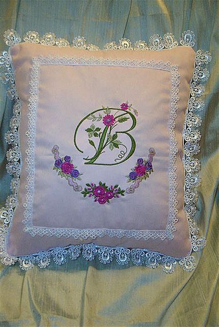 Heirloom Pillow with Elegant Floral Initials and Roses