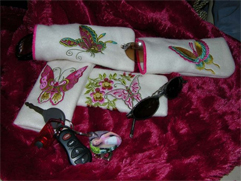 Fleece Sunglasses Case with Oriental Butterflies Embroidery Designs