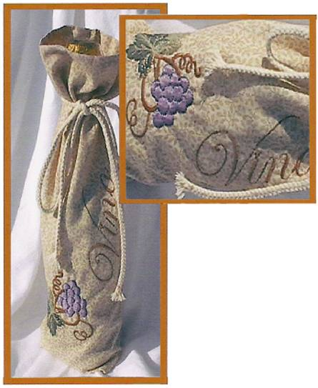 Wine Gift Bags from Grape Vines Embroidery Set