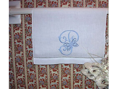 Guest Towel Monogrammed with Cutwork Butterfly Initials