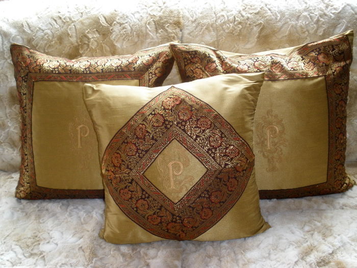 Pillows Set with Medieval Splendor Alphabet embroidery designs