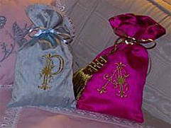 Monogrammed Dupioni Silk Sachet and Gift Bags