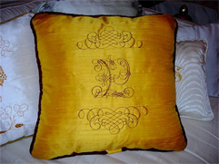 Old Gold Silk Pillow with Heraldic Embroidery Designs