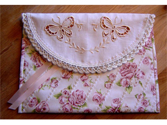 Pink Lingerie Bag with Cutwork Butterflies