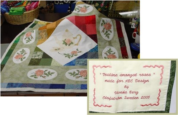 Teatime Among Roses quilt with Roses Embroidery Designs