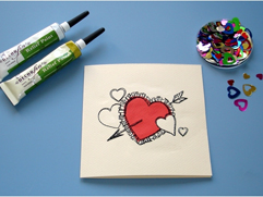 Valentine Card with Valentine Greetings Heart Design
