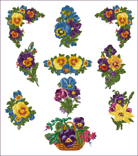 Romantic Pansies machine embroidery designs