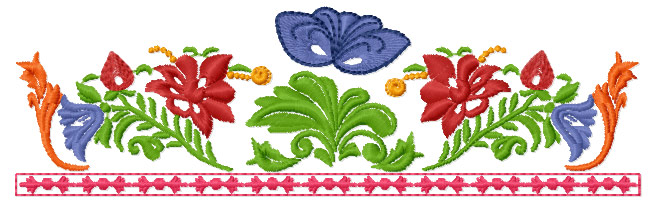 Garden Flower Border Embroidery Design