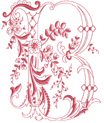 B from Enlaced Romance Initials