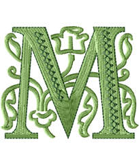 M from Victorian Glamour Font