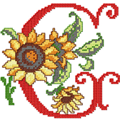 G from Sunflower Alphabet Cross Stitch